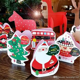 Wholesale Christmas Envelope Stickers - 18 pcs set Merry Christmas card Folded with envelope and sealing stickers greeting card message card Free shipping