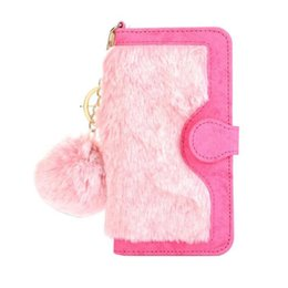 Wholesale Iphone Key Ring - luxury Multi-function 2 in 1 detachable hairy wallet flip case cover skin for iPhone 7 7 Plus with key ring