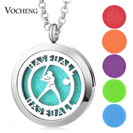 Wholesale Magnetic Pads - 30mm Perfume Locket Jewelry Pendant baseball 316L Stainless Steel Magnetic Essential Oil locket without Felt Pads VA-412