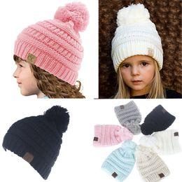 Wholesale Wholesale Toddler Beanies - 2017 Winter Kids Knit Hats Boys Girls Woolen Beanie Children CC Hats Toddler Knitted Warm Caps Crochet Hat