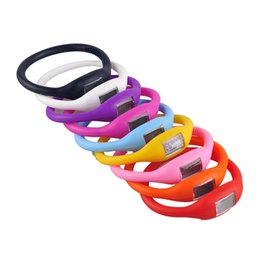 Wholesale Silicone Slide Letters - 500pcs Candy Color Anion pedometers Silicone Fitness Tracker Wristband Rubber Bracelet pedometer Portable For Outdoor Sport Xmas