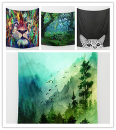 Wholesale background forest - Lion Forest Tapestry Background Yoga Home Cloth Beach Towel Living Room Decoration Wall decoration ECO Friendly
