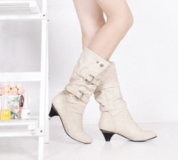 Wholesale Chunky Heel Buckle Boot - Ladies boots Autumn and winter Stretch leather High boots Fashion Motorcycle boots rubber sole Sexy women boots