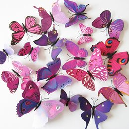 Wholesale Carton Wall Stickers - Wholesale- 12Pcs=1 lot 3d Wall Sticker Stickers Butterflies Pegatinas de pared Art Animal Carton Rolly Wall Stickers Paper Room Decoration