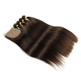 extensiones de pelo de seda Rebajas 4 Paquetes Con Cierre de Base de Seda Extensiones de Cabello Humano Rectas Sedosas Tejido Remy Brasileño Marrón Oscuro Más Oscuro
