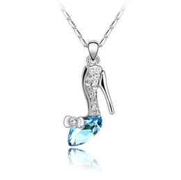 Wholesale Crystal Shoe Pendant - Necklaces Pendants Women Fashion Jewelry Crystal Heeled Shoes 925 Silver Gold Plated Long Charms Chains Necklaces