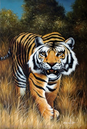 Wholesale Oil Painting Hunting - Framed Bengal Tiger Big Cat Endangered Species Hunting Stalking,Genuine Handpainted Animal Art oil Painting Museum Quality Multi size J045