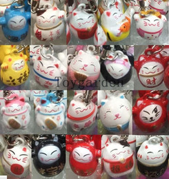 Wholesale lucky cat charms - 100 pcs Various Color Cute Maneki Neko Lucky Cat Bell Mobile Cell Phone Charm