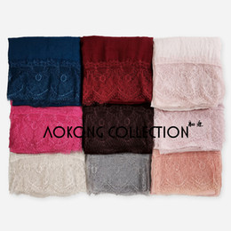 Wholesale Lace Hijab Scarves - Wholesale-10pcs lot mixed lace hijab big size plain solid lace scarf fashion viscose cotton maxi lace shawls soft muslim islamic scarves