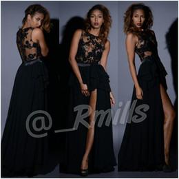 vestido negro bajo delantero Rebajas Sexy Africana Larga Negro Vestidos de Baile 2017 Transparente Apliques de Encaje Gasa Con Volantes Alto Bajo Frontal Dividido Formal Vestidos de Celebridades de Noche