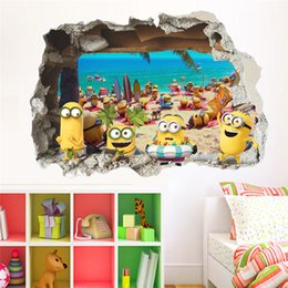 Wholesale Wall Stickers Minion - 50*70cm Funny Cartoon Beach minions Wall Sticker PVC Children Kids Room bedroom Wall Decals Bedroom Poster Mural 3d Wallpaper Home Decor