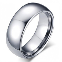 Wholesale Male African Jewelry - Classic male Real silver 18K white Gold Plated 8mm Titanium Steel Women Men Wedding Ring Top Quality Do not fade Lovers Wedding Jewelry