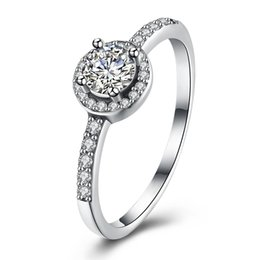 Wholesale Diamond Halo Wedding Ring - 925 Sterling Silver Cubic Zirconia Simulated Diamond Classic Round Halo Ring US Size 6-8