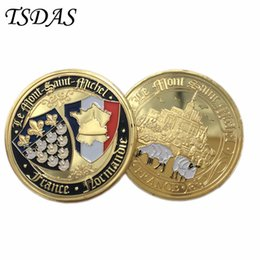 Wholesale 24k Gold Plated Coins - Normandie War 70-year Anniversary Commemorative Coin 24K Gold Plated Military Medal 40*3 Souvenir France Coin Gift For 2016