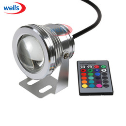 Wholesale Led Rgb Light 12v Down - Wholesale- Fast Shipping 10W Underwater IP68 RGB LED Flood Down Light For Pool Garden +24 Key Controller DC 12V