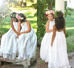 Wholesale Cheap Lace Halter Wedding Dresses - 2018 New Cheap Halter Beach Boho Flower Girls Dresses For Weddings Full Lace Sleeveless Backless Floor Length First Communion Dress
