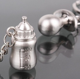 Wholesale Baby Bottle Charms - Wholesale- 1pairs Silver Plated key chains Milk bottle Nipple Key ring baby shower wedding gift keychain favor charm jewelry