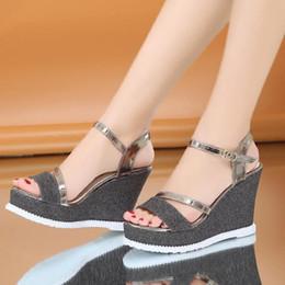 fecec0ed8ef24e Women girls fashion sandal 11 cm high heel sandals Sweet platform shoes  thick bottom wedge sandals (black)