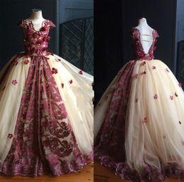 Wholesale Stunning Pageant Dresses Little Girls - Long Sleeve 3D Flower Little Girl Pageant Dresses Floor Length Lace Jewel Stunning Kids Formal Wear