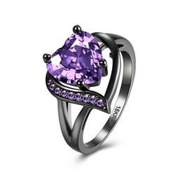 Placas de vidro roxas on-line-Surpreendentes Cristais Anéis Moda Preto Gun banhado CZ com coração de vidro roxo pedras de cristal anéis de casamento Jóias