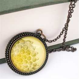 Wholesale Gold Bee Necklace - 12pcs lot Honeycomb Natural History Pendant Necklace Honey Bee Yellow Gold