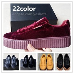 Wholesale Red Suede Trainers - Rihanna Creepers Fenty Velvet Creeper Trainers Burgundy Red Black Grey With Original Box Suede Creeper Sneakers 36-44