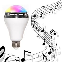 bluetooth lumière intelligente Promotion En gros-Mode Smart Bluetooth 4.0 E27 RGB Couleurs LED Ampoule Sans Fil Musique Haut-Parleur Smart Home Illumination Lampe