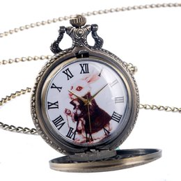 titanium watch case 2018 - Wholesale-Vintage Bronze Rabbit Dial Alice in Wonderland Case Copper Quartz Pocket Watch Men Women Cute Pendant Necklace Chain Gift