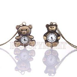 Wholesale Teddy Bear Necklace Pendants - Wholesale- Unique Design Cute Teddy Bear Steampunk Bronze Tone Necklace Chain Pendant Quartz Pocket Watch Child Kid Gift Watches Taschenuhr
