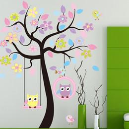 I bambini oscillano per gli alberi online-Adesivo murale Grande simpatico gufo altalena fiore albero decalcomania adesivi cartoon animale pianta decorazione per la camera dei bambini home decor 8 5kx F R