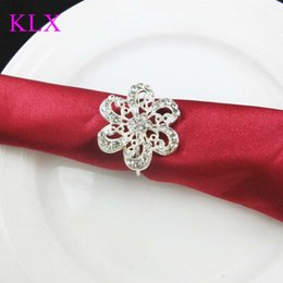 Wholesale Order Glass Flowers - Wholesale ! (200pcs lot) Charming Silver Plating Flower Rhinestone Napkin Ring For Wedding Table Decoration ,Pre -Order