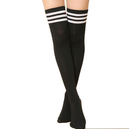 Wholesale Gray Cotton Thigh High Socks - Wholesale- Autumn Winter Casual Sexy Women Warm Cotton Striped Thigh High Socks Ladies Fashion Girl Over Knee Socks Stockings