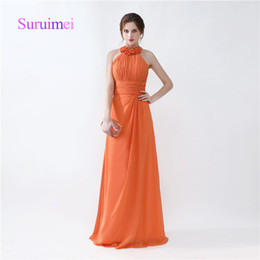 Wholesale Prom Dress Long Straps Colorful - Orange Colorful Prom Dresses Robe De Soiree Halter A Line Pleats Formal Evening Gowns And Quickly Shipping