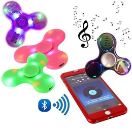 Wholesale Crystal Music Boxes - Led Bluetooth Music Fidget Crystal Spinner Finger HandSpinner EDC Hand Tri Spinner HandSpinner EDC Toy Decompression Toys in retail box