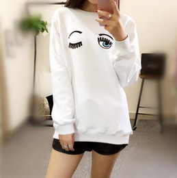 Wholesale Big Eye Sweater - Star style with a long sleeved sweater embroidered eyes female big size sweatshirt
