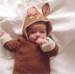 Wholesale Hood Jumpers - Children Kids Babys Sweater Pullover Cotton Deer Animal Sweater 2016 New Autumnn Winter Fashiion Jumper Sweaters with Hood Clothig