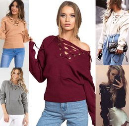 Wholesale Wholesale Crow Feathers - Fashion Sexy deep V shoulder strap sweater girl Women's Sexy Long Sleeves Neck Solid Hooded Sweater Tops Cardigan Outwear - Free Shipping