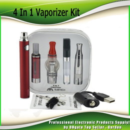 Wholesale Evod Mt3 Kit Metal - EVOD MT3 4 In 1 Vaporizer kits 650mAh 900mAh 1100mAh Battery Multi atomizer skillet glass CE3 wax dry herb BCD 4in1 Vape Pen Kit 0209636