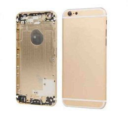 Wholesale Metal Gold Trays - For iPhone 6 Metal battery Housing Door Case cover with sim tray Side Button Power Switch 4.7 Inch Color Gray Gold Sliver
