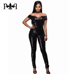 Wholesale Sequin Jumpsuits For Women - Wholesale- Black Gold Sequin Jumpsuit Short Sleeve Overalls For Women Off Shoulder Strapless Sexy Zipper Bodycon Rompers Womens Jumpsuit