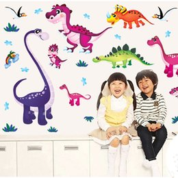 Wholesale Boys Room Wall Decor - Dinosaur Paradise Wall Stickers Kids Boys Girls Room Nursery Wall Decor Wallpaper Poster Dinosaur Fan Wall Graphic Decoration Art
