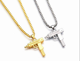 Wholesale Men Pendant Gun - New Uzi Gold Chain Hip Hop Long Pendant Necklace Men Women Fashion Brand Gun Shape Pistol Pendant Maxi Necklace HIPHOP Jewelry