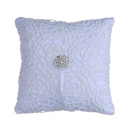 Wholesale Wedding Ring Pillow Wholesale - Beautiful Home Decoration White Wedding Lace Ring Pillow Flower Shape With Flash Diamond Romantic Pillow Cushion