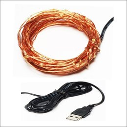 Wholesale Xmas Usb - USB Connecter 4.5V 10M 100Leds copper wire fairy string Xmas christmas party holiday decoration waterproof LED strip