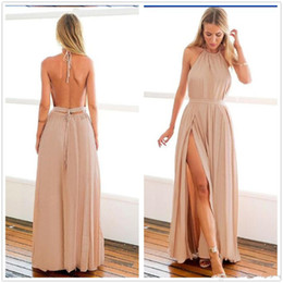 Wholesale Cheapest Black Halter Neck Dress - Cheapest Backless Long Maid of Honor Bridesmaids Dresses 2017 Sexy Halter Neck High Split Evening Party Prom Gowns Plus Size Wedding Guest