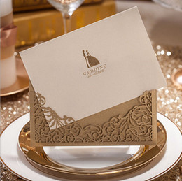 Wholesale Gold Ribbon Party Favors - hoe sale wholesale 100 pieces lot printing laser cutting wedding favors hollow wedding party luxury wedding invitations cards ribbon