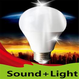 Wholesale Motion Activated Sounds - Wholesale- LED Sound Light Sensor Bulb 5W Voice Activated Intelligent Lamp 220V Auto Motion Sensor Lighting Cool White