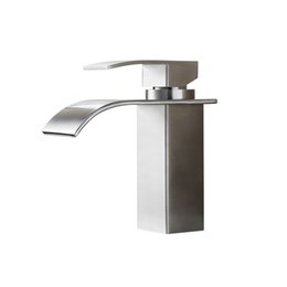 Wholesale Nickel Bathroom Basin - BLH 526 Bathroom Extended Basin Faucet Mixer Tap Modern Brushed Nickel Stainless Steel Single Tap Faucet for Counter Basin