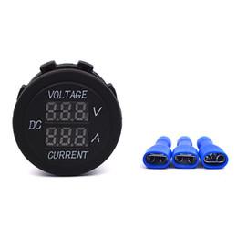Wholesale Meter Leads Accessories - Wholesale- Car Motorcycle DC 12V 24V LED Display Digital Ammeter Voltage Meter Round Ampere Meter galvanometer Car Accessories