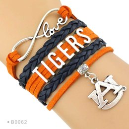 Wholesale Sport Bracelet Team - Custom-Infinity Love Auburn Athletic Football Tigers Team Sports Bracelet Braided Leather Adjustable Bracelet Bangles For Fans-Drop Shipping